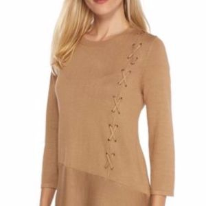 New Directions Lace Up Side Asymmetrical Sweater